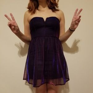 Purple shimmer strapless dress